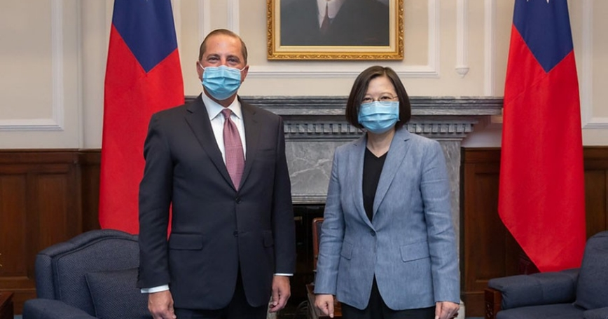 U.S. Secretary of Health and Human Services Alex Azar meets with Taiwan President Tsai Ing-wen at the presidential office, in Taipei, Taiwan, August 10, 2020, photo courtesy of the Taiwan Presidential Office