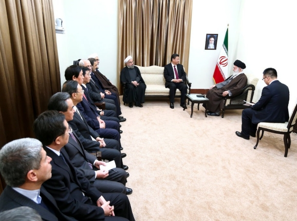 """Chinese President Xi Jinping and his entourage meet with Ayatollah Khamenei in Iran, January 23, 2016, <a href=""""https://english.khamenei.ir/photo/3211/China-s-President-met-with-Ayatollah-Khamenei"""">photo</a> by <a href=""""https://english.khamenei.ir"""">Khamenei.ir</a> / <a href=""""https://creativecommons.org/licenses/by/4.0/"""">CC BY 4.0</a>"""