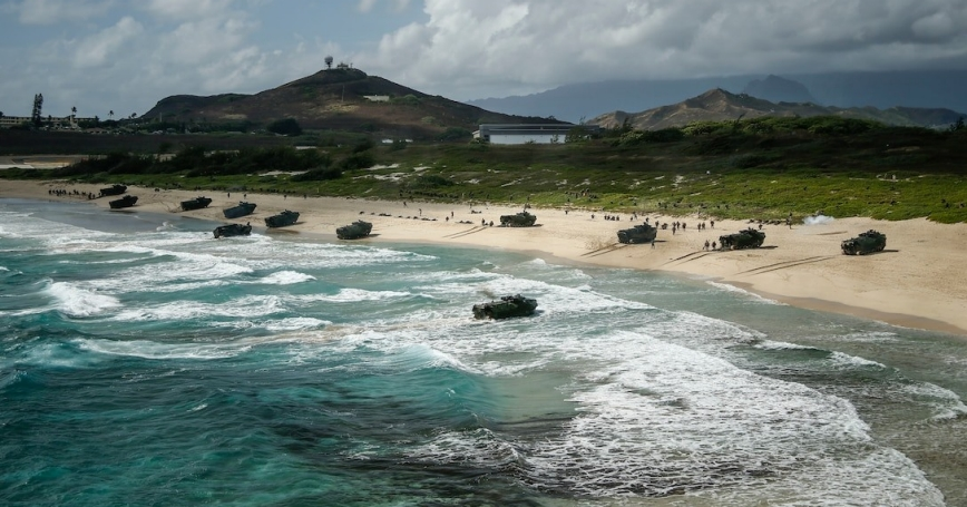 An amphibious landing demonstration, part of Rim of the Pacific exercise at Pyramid Rock Beach, on Marine Corps Base Hawaii, July 29, 2018, photo by Sgt. Aaron Patterson/U.S. Marine Corps