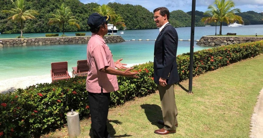 U.S. Defense Secretary Mark Esper meets with Palauan President Tommy Remengesau in Koror, Palau, August 27, 2020, photo by Jim Garamone/U.S. Department of Defense