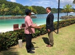 U.S. Defense Secretary Mark Esper meets with Palauan President Tommy Remengesau in Koror, Palau, August 27, 2020, photo by Jim Garamone/U.S. Department of Defense