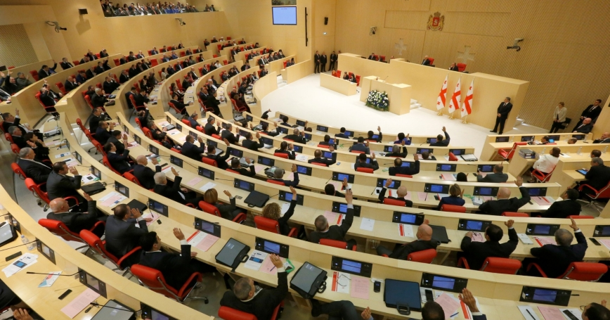 Members of parliament attend the first session of the newly elected parliament in Kutaisi, Georgia, November 18, 2016, photo by David Mdzinarishvili/Reuters