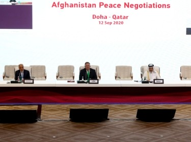 Zalmay Khalilzad, U.S. envoy for peace in Afghanistan, U.S. Secretary of State Mike Pompeo, Qatari Deputy Prime Minister and Minister of Foreign Affairs Sheikh Mohammed bin Abdulrahman al-Thani and Mutlaq Al-Qahtani, special envoy of the foreign minister of Qatar are seen during talks between the Afghan government and the Taliban in Doha, Qatar, September 12, 2020, photo by Ibraheem al Omari/Reuters