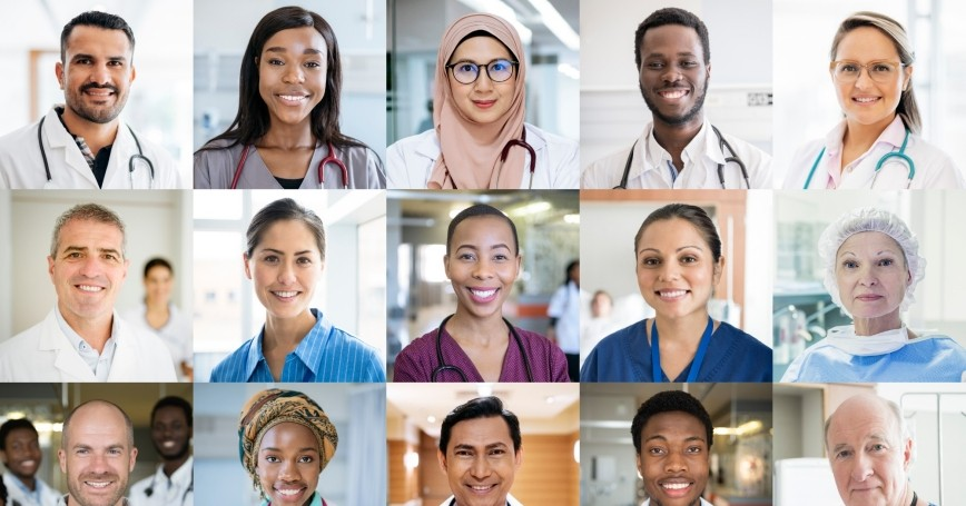Array of portraits of a diverse group of doctors, photo by JohnnyGreig/Getty Images