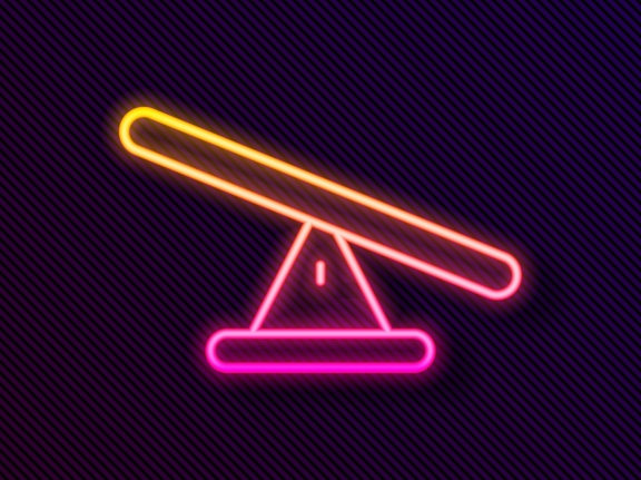 Glowing neon line seesaw icon isolated on black background, photo by Kostiantyn/Adobe Stock