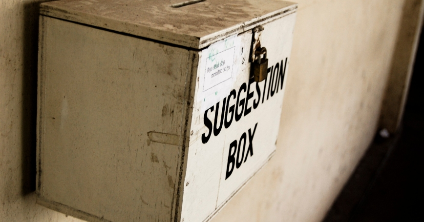 "Suggestion box attached to a wall, <a href=""https://commons.wikimedia.org/wiki/File:Suggestion_box.jpg"">Photo by <a href=""https://www.flickr.com/people/20826826@N00"">Hashir Milhan</a>/<a href=""https://creativecommons.org/licenses/by/2.0/deed.en"">CC BY 2.0</a>"