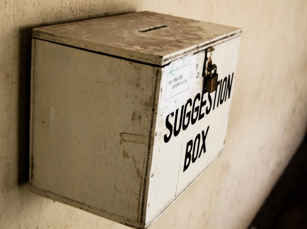 """Suggestion box attached to a wall, <a href=""""https://commons.wikimedia.org/wiki/File:Suggestion_box.jpg"""">Photo by <a href=""""https://www.flickr.com/people/20826826@N00"""">Hashir Milhan</a>/<a href=""""https://creativecommons.org/licenses/by/2.0/deed.en"""">CC BY 2.0</a>"""