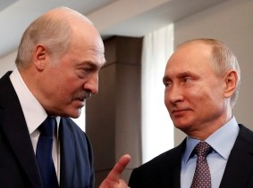 Belarus President Alexander Lukashenko and Russian President Vladimir Putin meet in Sochi, Russia, February 15, 2019, photo by Sergei Chirikov/Pool/Reuters
