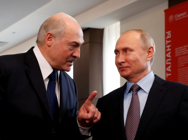 Belarus President Alexander Lukashenko and Russian President Vladimir Putin meet in Sochi, Russia, February 15, 2019, photo by Sergei Chirikov/Pool/Reuters