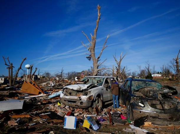 Two cars after they were destroyed by a tornado in Washington, Illinois, November 19, 2013