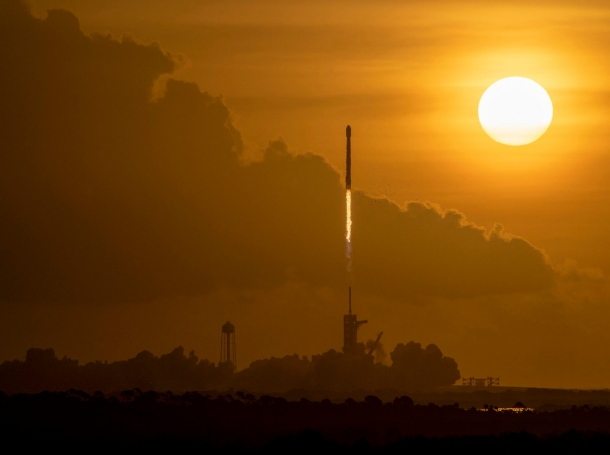 A SpaceX Falcon 9 rocket carrying Starlink satellites into orbit lifts off from Pad 39A at NASA's Kennedy Space Center in Cape Canaveral, FL, October 6, 2020, photo by Space X/Latin America News Agency/Reuters
