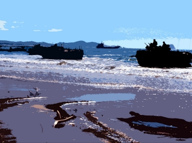 U.S. Marine Corps 31st Marine Expeditionary Unit Amphibious Assault Vehicles rush Freshwater Beach during Talisman Sabre 2011 in Australia, on July 19, 2011, photo by Captain Staci Reidinger/U.S. Marine Corps
