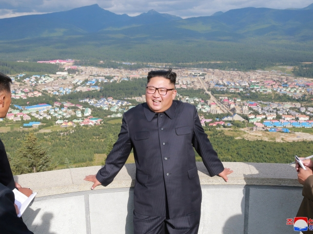 North Korean Leader Kim Jong-un gives field guidance at construction sites in Samjiyon County, North Korea, in this undated photo released by North Korea's Korean Central News Agency (KCNA) on August 18, 2018