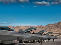U.S. Air Force F-22 Raptors from 94th Fighter Squadron landed at Nellis Air Force Base, Nevada, Aug. 10, 2017