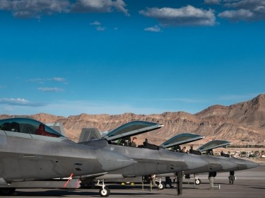 U.S. Air Force F-22 Raptors from 94th Fighter Squadron landed at Nellis Air Force Base, Nevada, Aug. 10, 2017, photo by Staff Sgt. Carlin O. Leslie/U.S. Air Force