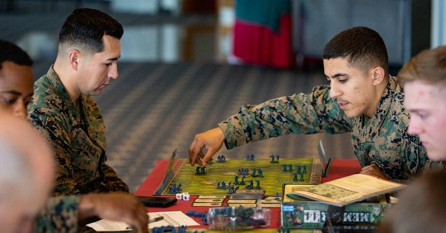 U.S. Marines play a game of Memoir '44, a war-themed strategy board game based on historical World War II battles, on Camp Schwab, Okinawa, Japan, December 10, 2019, photo by Cpl. Timothy Hernandez/U.S. Marines