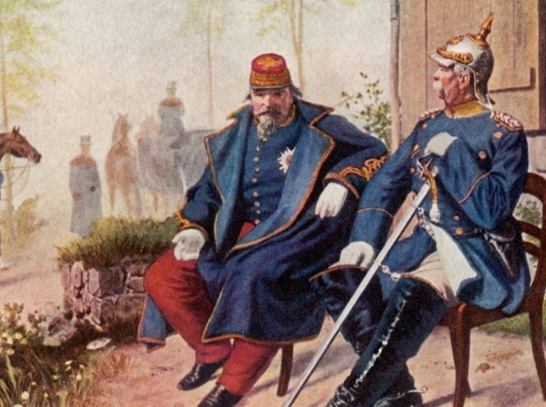"""Otto von Bismarck and Napoleon III after the Battle of Sedan in 1870,  <a href=""""https://commons.wikimedia.org/wiki/File:BismarckundNapoleonIII.jpg"""">Painting</a> by Wilhelm Camphausen/Public Domain"""