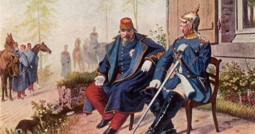 "Otto von Bismarck and Napoleon III after the Battle of Sedan in 1870,  <a href=""https://commons.wikimedia.org/wiki/File:BismarckundNapoleonIII.jpg"">Painting</a> by Wilhelm Camphausen/Public Domain"