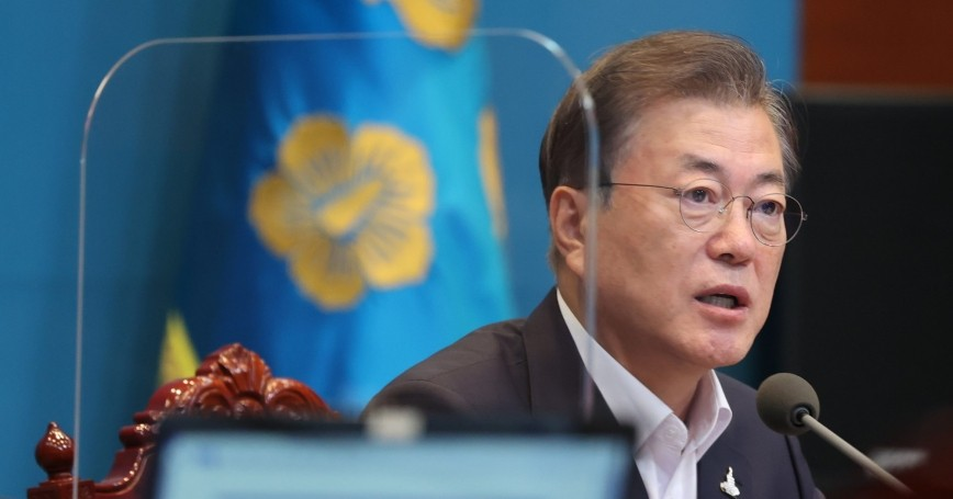 South Korean President Moon Jae In attends a meeting with senior advisers at the presidential office in Seoul, South Korea on August 24, 2020, photo by Blue House/Handout/Latin America