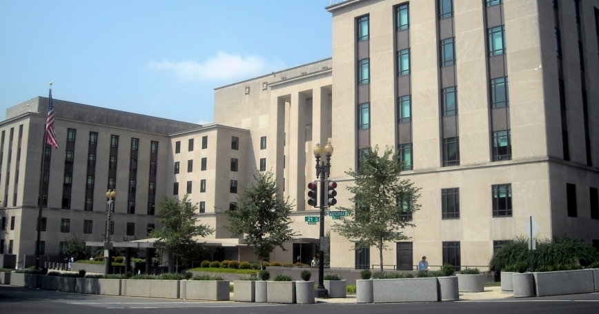 """The Harry S. Truman Building, headquarters of the U.S. Department of State, in Washington, D.C., <a href=""""https://commons.wikimedia.org/wiki/File:U.S._State_Department_-_Truman_Building.JPG"""">photo</a> by <a href=""""https://commons.wikimedia.org/wiki/User:APK"""">AgnosticPreachersKid</a> / <a href=""""https://creativecommons.org/licenses/by-sa/3.0/deed.ene"""">CC BY-SA 3.0</a>"""
