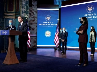 Antony Blinken, nominee for Secretary of State, speaks as President-elect Joe Biden and Vice President–elect Kamala Harris announce their national security nominees and appointees, Wilmington, Delaware, November 24, 2020, photo by Joshua Roberts/Reuters