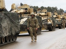 Elements of 2nd Armored Brigade Combat Team, 1st Cavalry Division, convoy to the Hohenfels Training Area for Combined Resolve XIII in Germany,  January 18, 2020, photo by Sgt. Megan Zander/U.S. Army National Guard