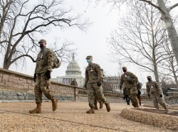 National Guardmen on U.S. Capitol security detail in Washington, DC, January 11, 2021, photo by Master Sgt. Matt Hecht/U.S. Air National Guard