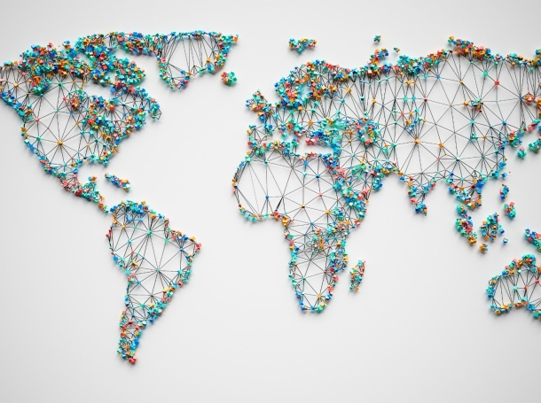 Abstract world map with polygons, photo by imaginima/Getty Images