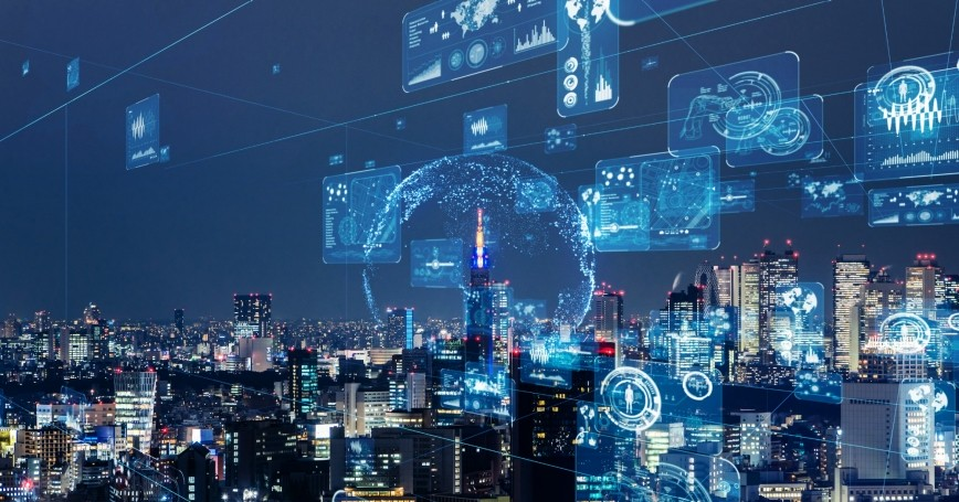Smart city and communication network concept, photo by metamorworks/Getty Images