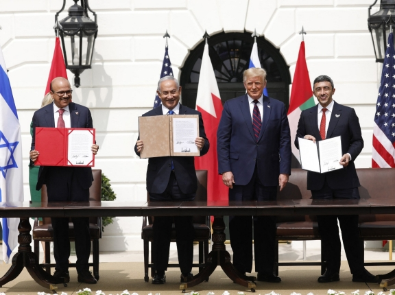 L-R: Bahrain Foreign Minister Dr. Abdullatif bin Rashid Al Zayani, Israeli Prime Minister Benjamin Netanyahu, U.S. President Donald Trump, and UAE Minister of Foreign Affairs and International Cooperation, Sheikh Abdullah bin Zayed Al Nahyan at the Abraham Accords signing ceremony at the White House in Washington, D.C., September 15, 2020, photo by Gripas Yuri/ABACA/Reuters