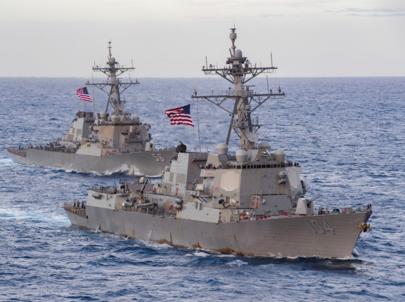 The guided-missile destroyers USS Sterett (DDG 104) and USS John S. McCain (DDG 56) transit the South China Sea, February 9, 2021, photo by MC3 Cheyenne Geletka/U.S. Navy