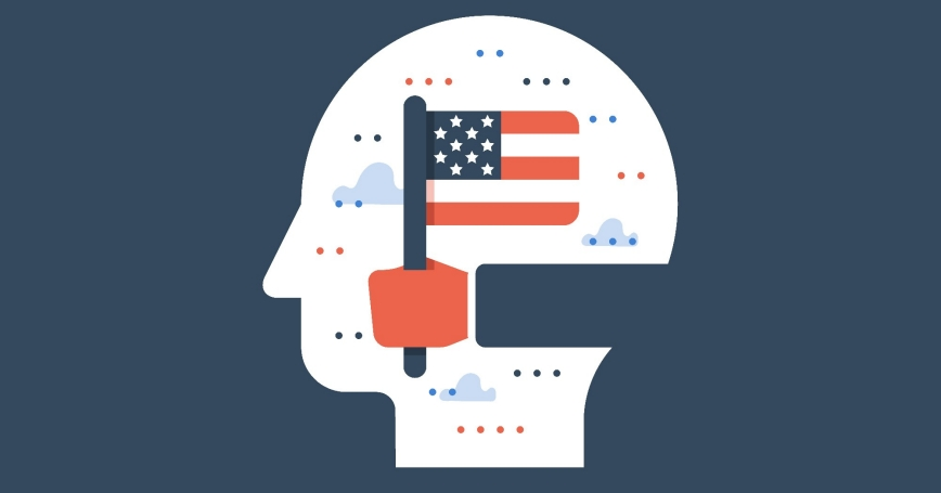Illustration of hand holding U.S. flag superimposed on a head, photo by Scar1984/Getty Images