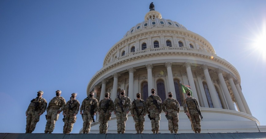 U.S. Soldiers with the 46th Military Police Company, Michigan National Guard, at the U.S. Capitol building in Washington, D.C., February 25, 2021, photo by 2nd Lt. Ashley Goodwin/U.S. Army National Guard
