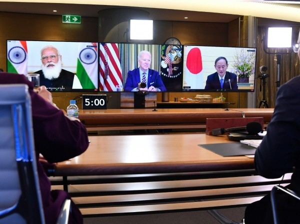 Australian Prime Minister Scott Morrison (R) and Minister for Foreign Affairs Marise Payne (L) participate in the inaugural Quad leaders meeting with Indian Prime Minister Narendra Modi, U.S. President Joe Biden, and Japanese Prime Minister Yoshihide Suga in a virtual meeting in Sydney, Australia, March 13, 2021, photo by Dean Lewins/Reuters