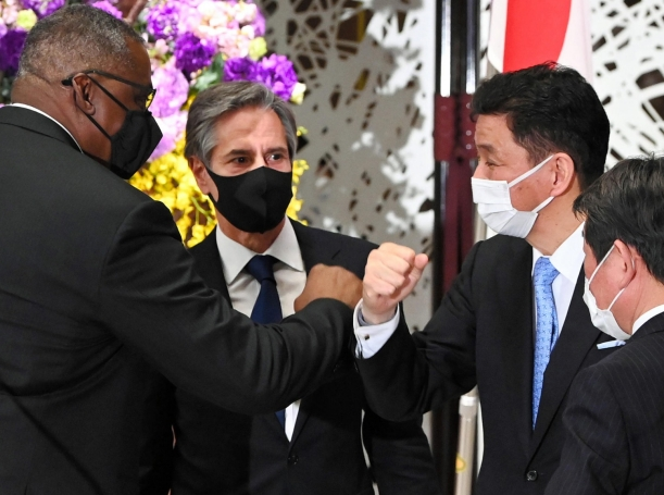 U.S. Defense Secretary Lloyd Austin and Secretary of State Antony Blinken with Japan's Defense Minister Nobuo Kishi and Minister for Foreign Affairs Toshimitsu Motegi at a joint press conference in Tokyo, March 16, 2021, photo by Yomiuri Shimbun/Reuters