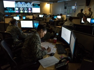 Cyber warfare operators monitor cyber attacks at Warfield Air National Guard Base, Middle River, MD, December 2, 2017, photo by J.M. Eddins Jr./U.S. Air Force