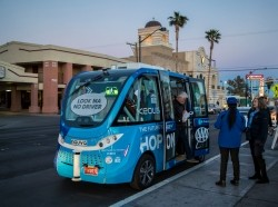 An autonomous shuttle in Las Vegas, photo by LPETTET/Getty Images