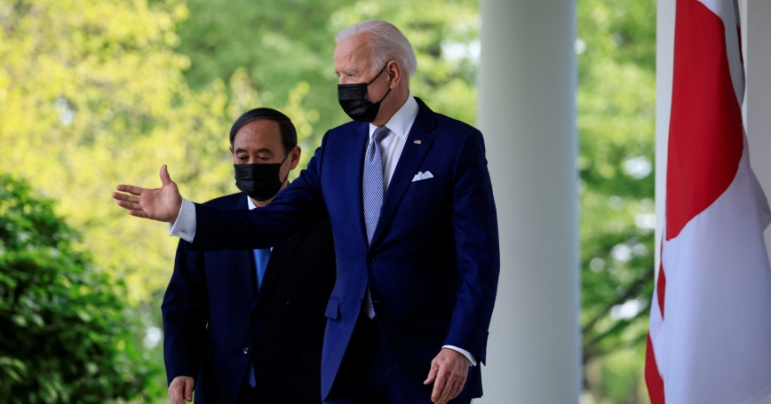 U.S. President Joe Biden and Japan's Prime Minister Yoshihide Suga arrive for a news conference at the White House in Washington, D.C., April 16, 2021, photo by Tom Brenner/Reuters