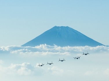 MV-22B Osprey tiltrotor aircraft return after a long-range raid from Combined Arms Training Center, Camp Fuji, Japan to Marine Corps Air Station Futenma, Okinawa, Nov. 4, 2016, photo by Sergeant Major Michael Cato/U.S. Marine Corps