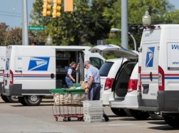 United States Postal Service workers load mail into delivery trucks outside a post office in Royal Oak, Michigan, August 22, 2020, photo by Rebecca Cook/Reuters