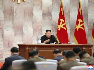 North Korean leader Kim Jong-un speaks during the conference of the Central Military Committee of the Workers' Party of Korea in this image released by North Korea's Korean Central News Agency (KCNA) on May 23, 2020, photo by KCNA/Reuters
