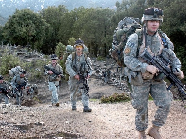 Soldiers in 3rd Platoon, Combat Company, 1-32 Infantry, return from a patrol near the villages of Tsapre and Aybat, Afghanistan, April 1, 2007, photo by Army Spc. Jon H. Arguello/U.S. Army