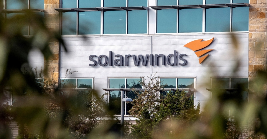 The SolarWinds logo is seen outside its headquarters in Austin, Texas, December 18, 2020, photo by Sergio Flores/Reuters