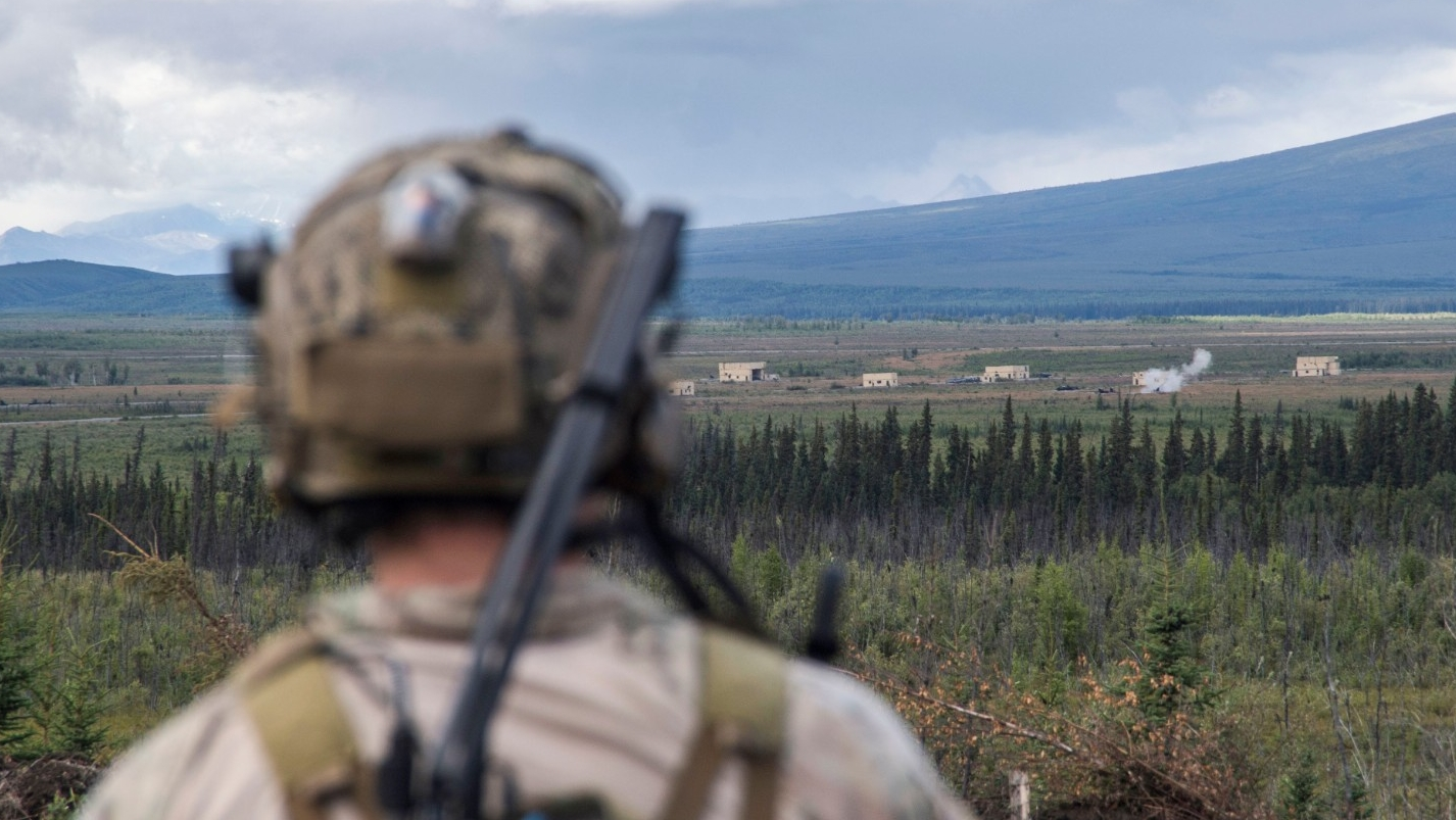 A Special Tactics Airman surveys a target following close air support training during RED FLAG-Alaska 18-3 at Eielson Air Force Base, Alaska, August 16, 2018, photo by Tech. Sgt. Sandra Welch/U.S. Air Force