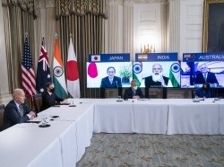U.S. President Joe Biden and Secretary of State Antony Blinken meet virtually with Prime Minister Yoshihide Suga of Japan, Prime Minister Narendra Modi of India, and Prime Minister Scott Morrison of Australia at the White House in Washington, D.C., March 12, 2021, photo by Pool/ABACA via Reuters