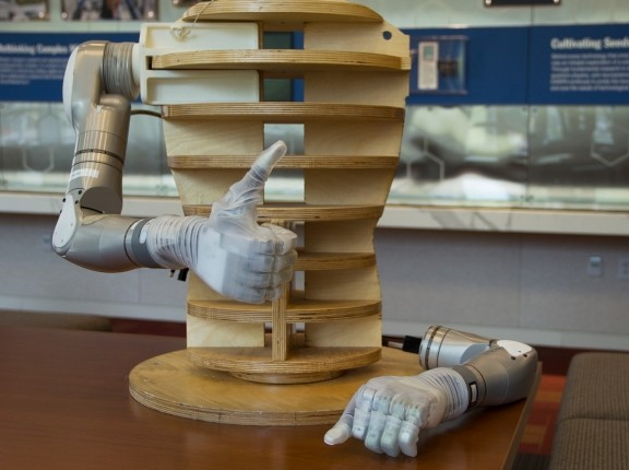"""The """"LUKE"""" prosthetic arm developed by the Defense Advanced Research Projects Agency, photo by DARPA"""