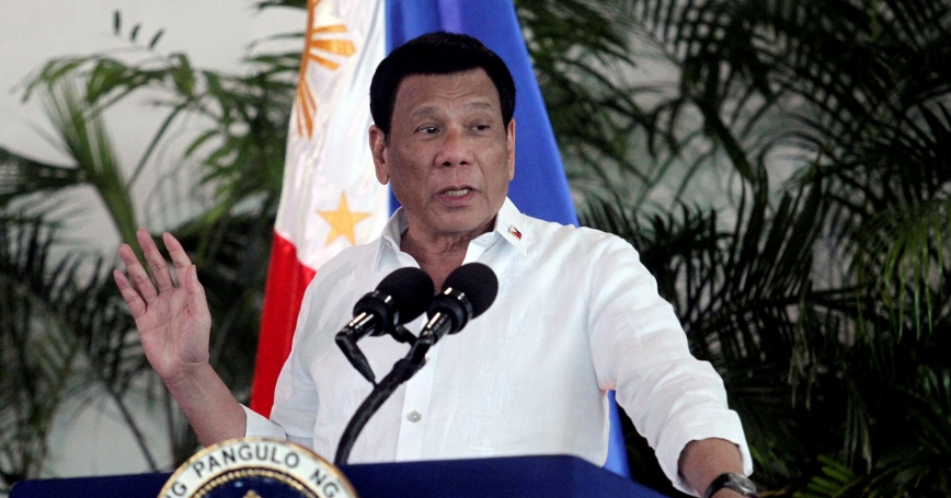 President Rodrigo Duterte speaks at Davao International airport in Davao City in southern Philippines, September 8, 2018, photo by Lean Daval Jr./Reuters