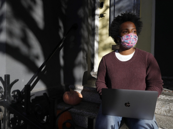 Technology recruiter Penny Bailey works from home in San Francisco, California, January 6, 2021, photo by Jane Tyska/TNS/ABACA via Reuters Connect