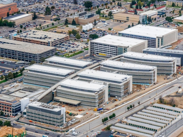Aerial photo of the 12-building Department of Veteran Affairs replacement medical center under construction in Aurora, Colorado, photo courtesy of Kiewit Turner