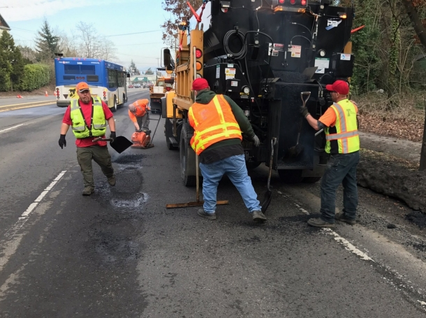 Crews patch potholes in the Portland Metro area in Portland, Oregon, January 25, 2017, photo by Oregon Department of Transportation